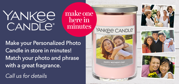 Call us for details about our new personalized candle program.